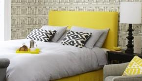 sofa.com Sophie Bed Headboard Super King in Designers Guild Brero Lino Lemongrass £1340