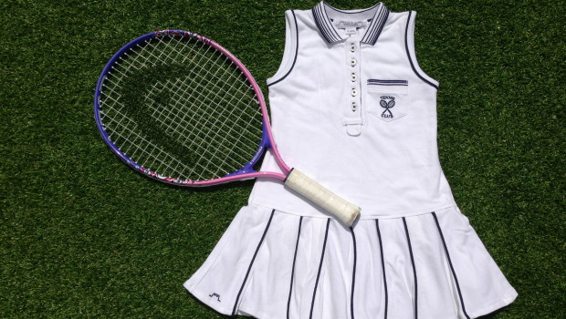 Chateau de Sable Tennis Dress with Navy Trim