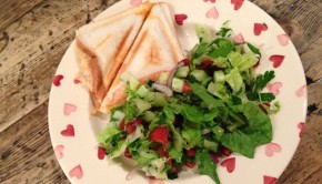 Ham and cheese toastie fattoush salad