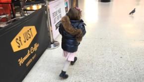 Train station running preschooler