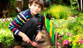 preteen handsome boy work in the blossoming summer garden