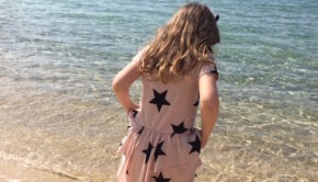 Star print layered dress nununu